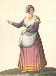 Costume Napolitano del basso volgo  - Watercolor by M. De Vito - 1820 ca.