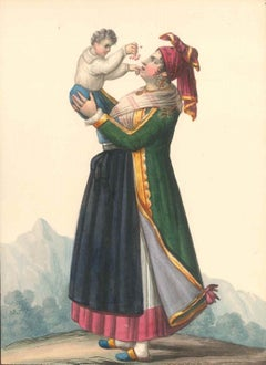 Costume dell'Isola di Procida  - Watercolor by M. De Vito - 1820 ca.