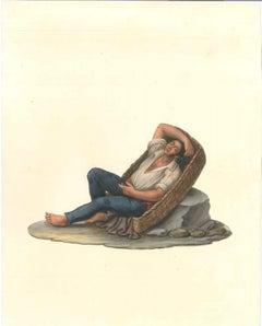 Man in a Basket  - Watercolor by M. De Vito