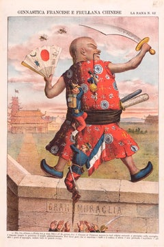 Ginnastica Francese E Frullana Chinese -  Lithograph by Augusto Grossi - 1870s
