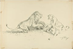 Lions Contending  - Original Charcoal Drawing by Willy Lorenz - Mid 20th Century