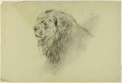 Lion and Deers - Original Charcoal Drawing by Willy Lorenz - 1940s