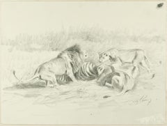 After the Hunt - Original Pencil Drawing by Willy Lorenz - 1950s