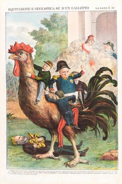 Riding And Gym On a Cockerel -  Lithograph by Augusto Grossi - 1860s