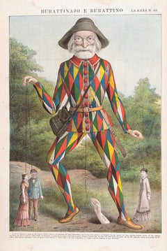 Puppeteer And Puppet -  Lithograph by Augusto Grossi - 1860s