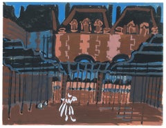 Colorful Buildings - Original Tempera by A. Matheos