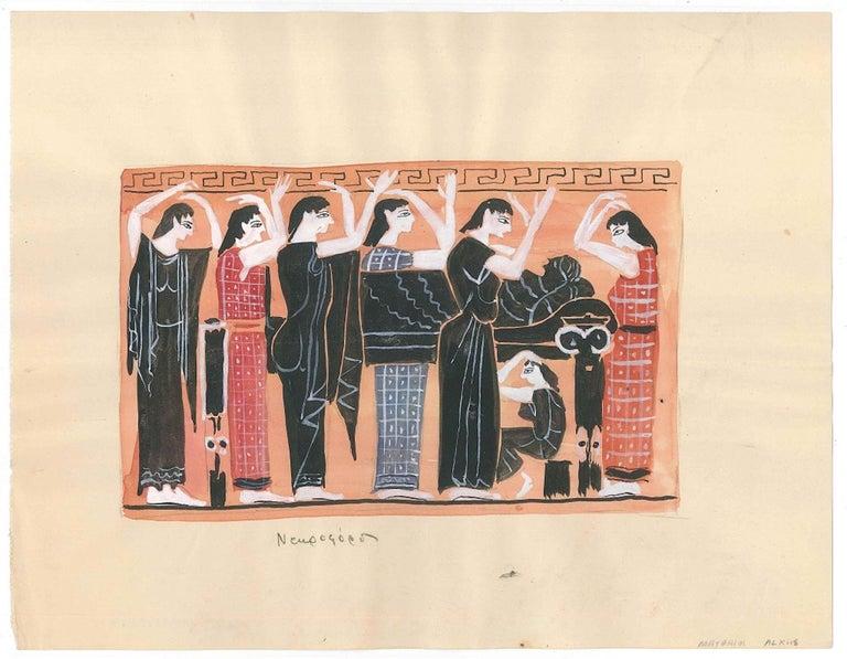 Alkis Matheos Nude - Greek Funeral  - Original Tempera by A. Matheos