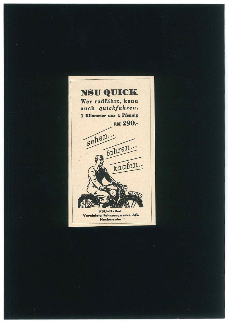 Nsu Quick Advertising is an original illustration realized at the beginning of the XX century, in the 1930s.    Good condition- Glued on black cardboard (21 x 14.7 cm).  This little vintage illustration is advertising from a newspaper printed at the