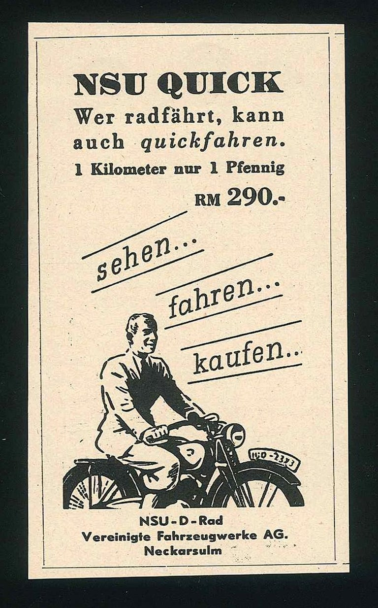 Nsu Quick Advertising - Original Vintage Advertising on Paper - 1930s - Art by Unknown