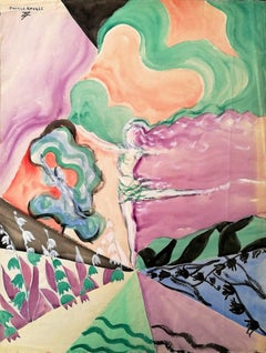 Ballerina among Flowers - Original Tempera on Paper by Maurice Rouzée - 1940s