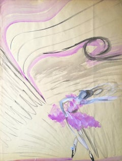 Ballerina - Original Tempera on Paper by Maurice Rouzée - 1940s