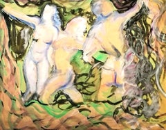 Female Nudes - Original Tempera on Paper by Maurice Rouzée - 1940s
