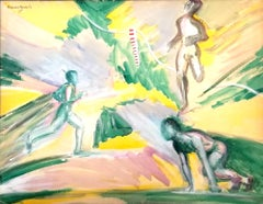 The Runner - Original Tempera on Paper by Maurice Rouzée - 1940s