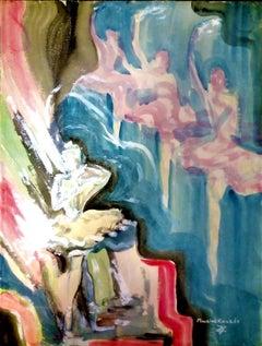 Ballerinas - Original Tempera on Paper by Maurice Rouzée - 1930
