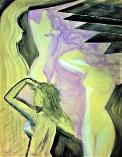 Nudes - Original Tempera on Paper by Maurice Rouzée - 1930