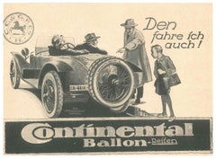 Continental Ballon - Original Vintage Advertising on Paper - Early 20th Century