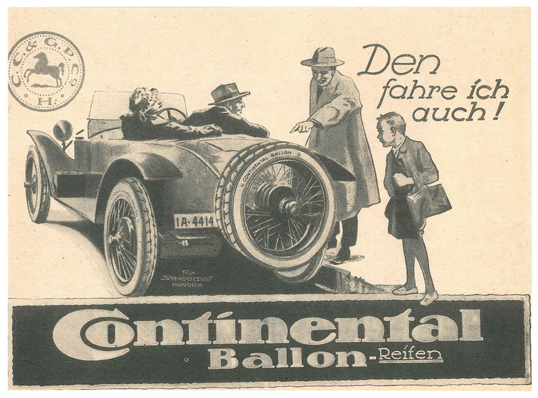 Continental Ballon - Original Vintage Advertising on Paper - Early 20th Century - Art by Unknown