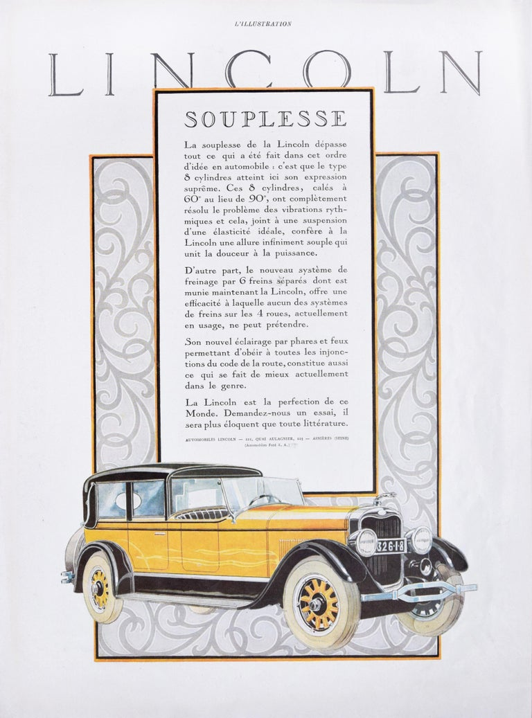 Lincoln Souplesse - Original Vintage Advertising on Paper - Early 1900 - Art Deco Art by Unknown