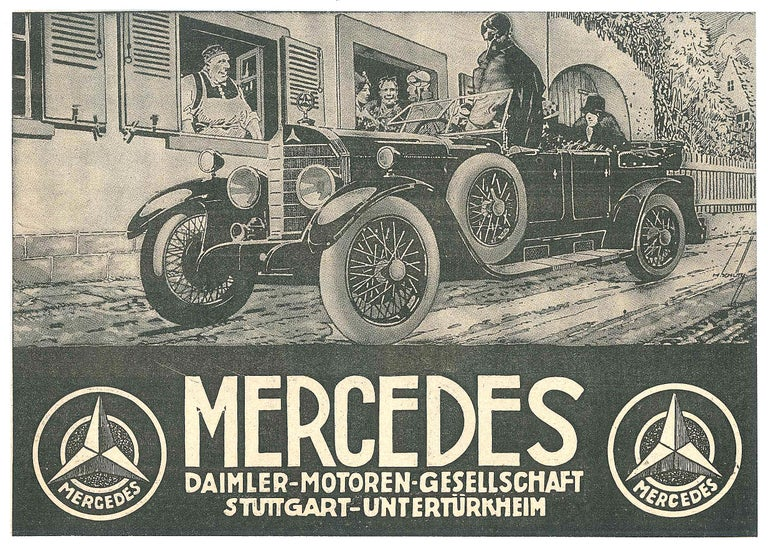 Mercedes - Original Vintage Advertising on Paper - Early 20th Century - Art by Unknown