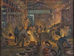 Interior of a Foundry - Original Oil on Canvas by H. C. Berke - Mid 1900