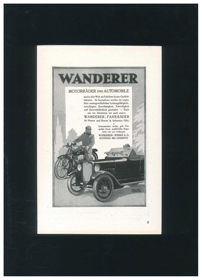 Wanderer - Vintage Advertising on Paper - 1930s - Art Deco Art by Unknown