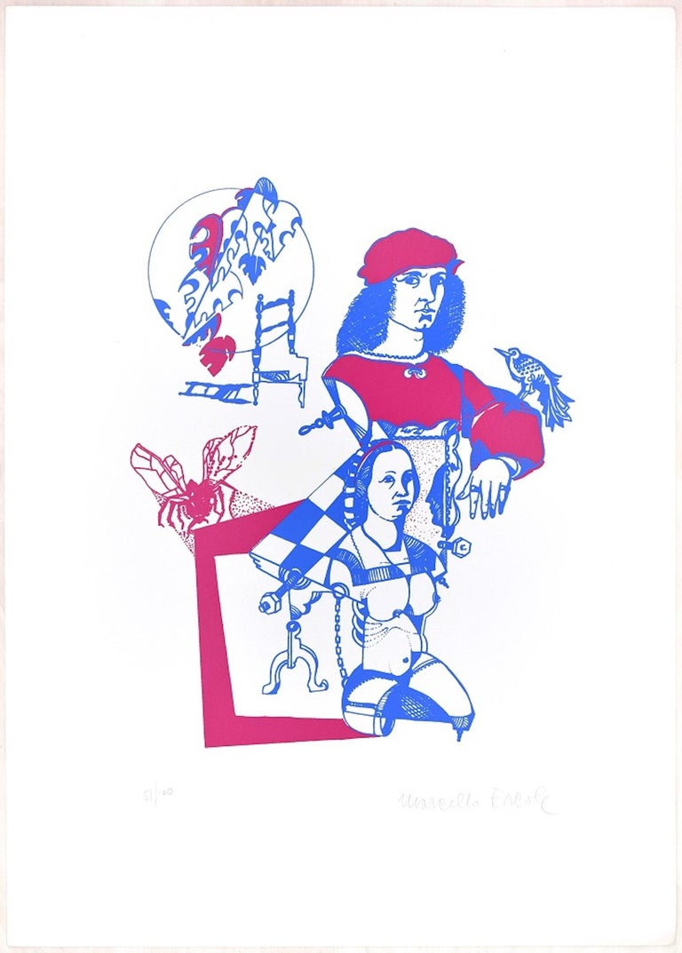 Raffaello is a wonderful colored lithograph on paper, realized in the Seventies of XX century by the Italian artist, Marcello Ercole, published by La Nuova Foglio, the publishing house of Macerata, as it is impressed on the sheet on the lower right