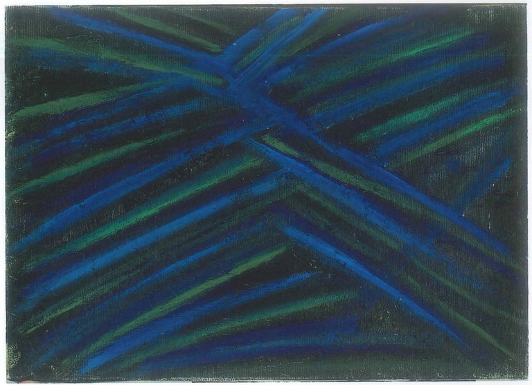 Informal Painting is an original artwork realized by Giorgio Lo Fermo in 2011.  Mixed media on canvas. Hand signed by the artist on lower left.   This contemporary artwork is composed by multi-concentric bands on the dark tones of blue, green and