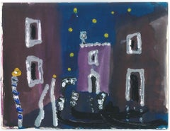 Violet Buildings in Venice  - Original Tempera on Paper by A. Matheos
