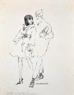 Chinè ou va au cine. Tu t'es coupé les ongles? Ink Drawing by A. Doré