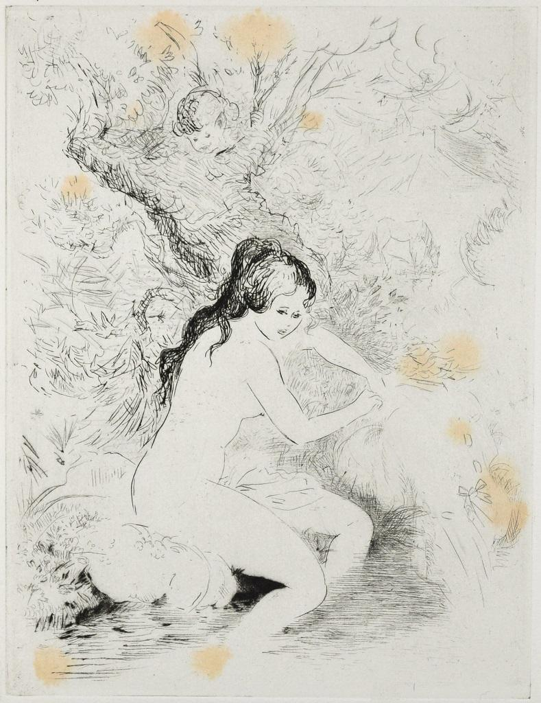 Woman at the River- Original Etching ad Drypoint by A. Doré - Late 1900