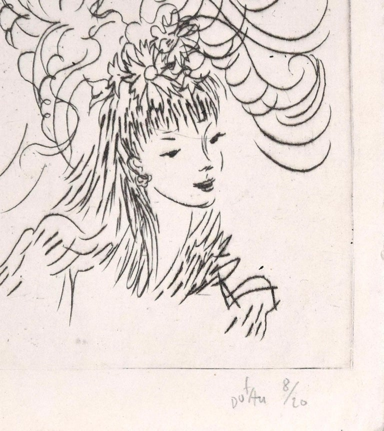 Woman with Flowery Hairstyle - Etching ad Drypoint by A. Doré - 1950s - Print by Amandine Doré