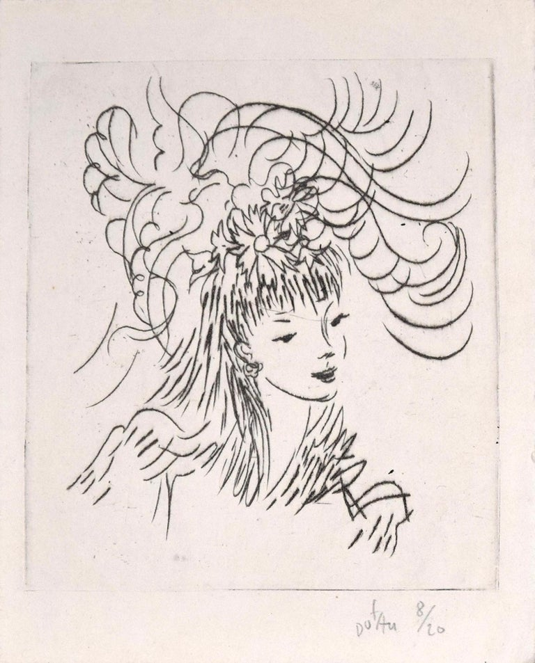 Amandine Doré Figurative Print - Woman with Flowery Hairstyle - Etching ad Drypoint by A. Doré - 1950s