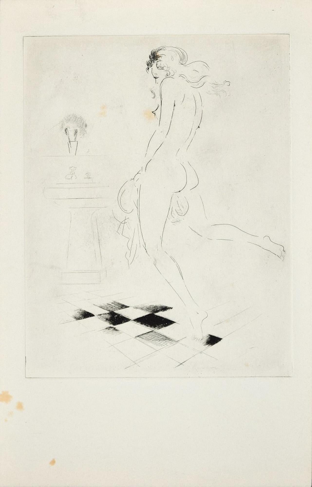 Woman in the Bathroom- Original Etching ad Drypoint by A. Doré -1950s