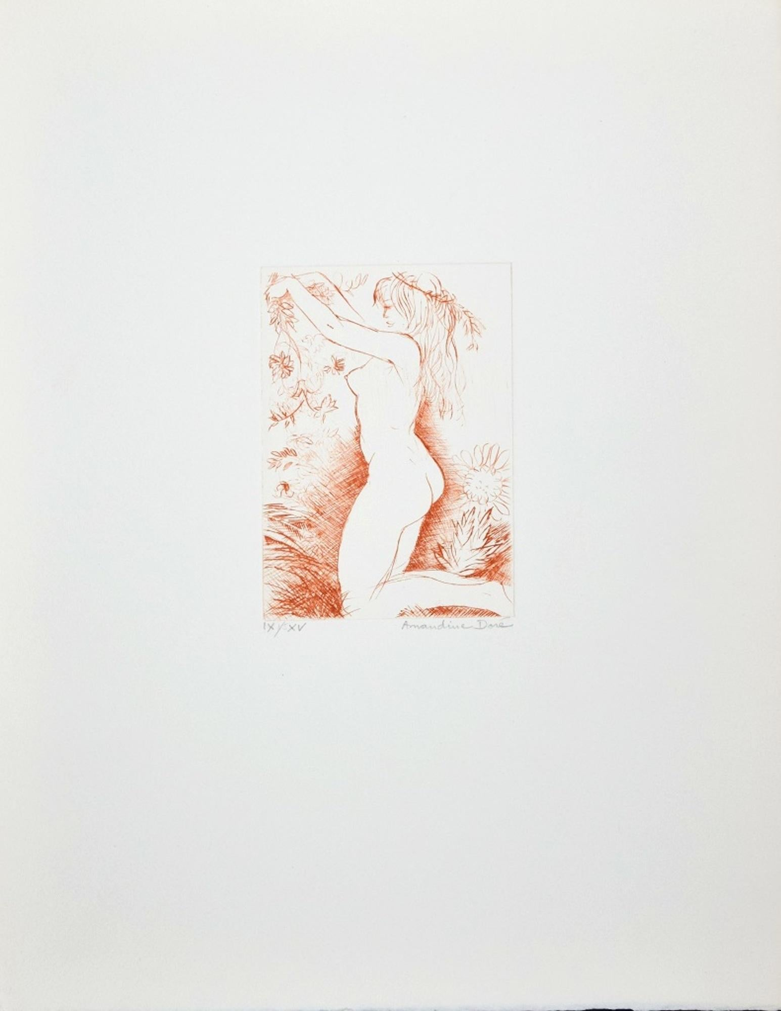 Nude Woman with Flowers - Original Etching ad Drypoint by A. Doré - 1950s