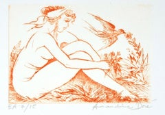 Nude Woman with Swallow - Original Etching ad Drypoint by A. Doré - 1950s