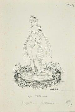 Projet de Fontaine - Ink Drawing by A. Doré