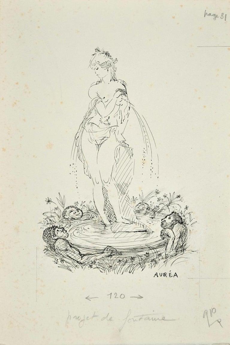 Amandine Doré Figurative Art - Projet de Fontaine - Ink Drawing by A. Doré
