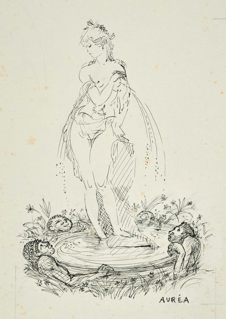 Projet de Fontaine - Ink Drawing by A. Doré  - Art by Amandine Doré