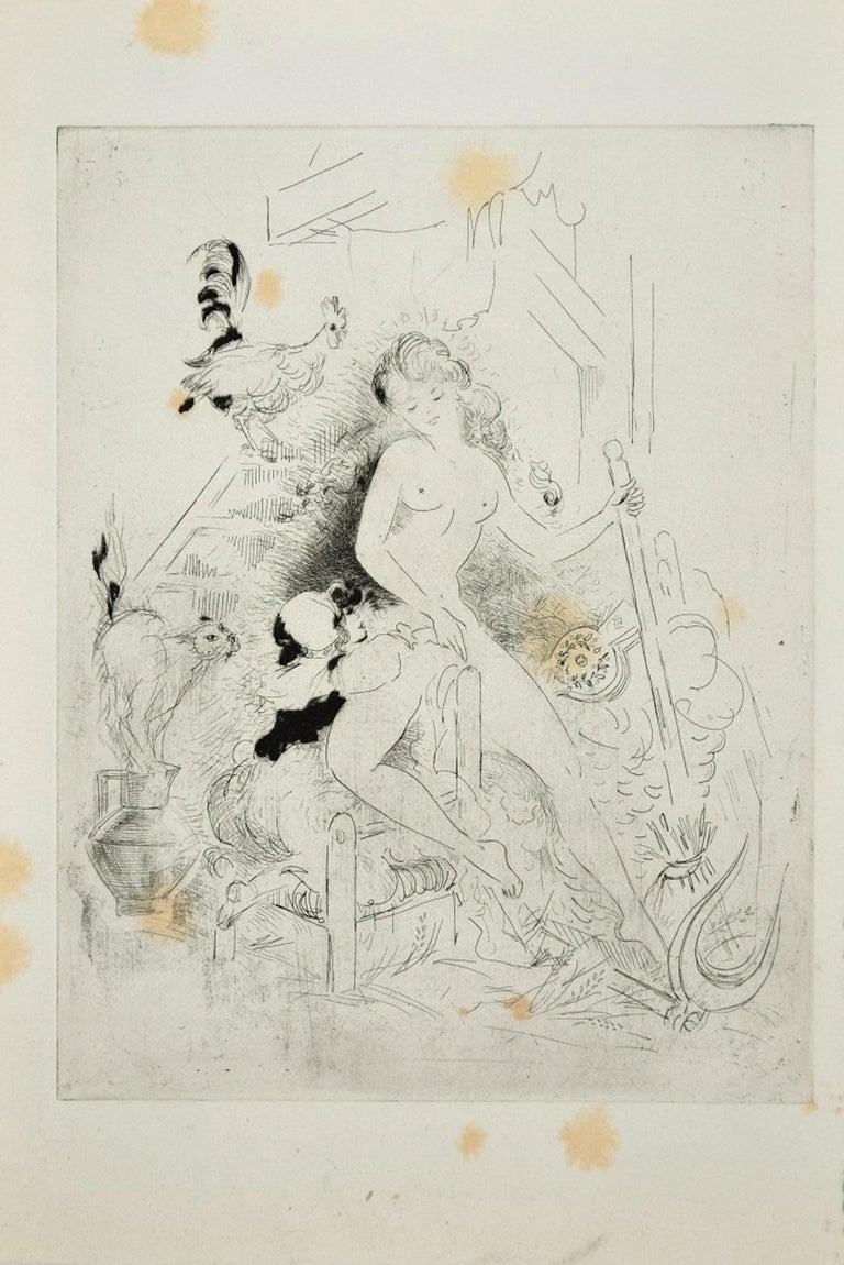 Amandine Doré Figurative Print - Erotic Scene - Original Etching ad Drypoint by A. Doré -1950s