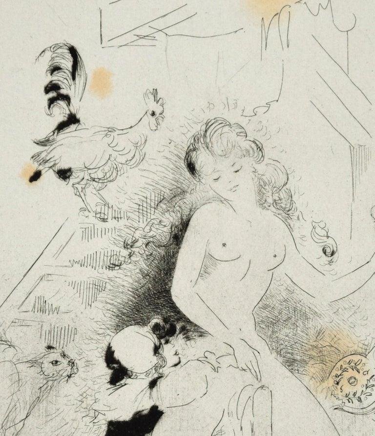 Erotic Scene - Original Etching ad Drypoint by A. Doré -1950s - Print by Amandine Doré
