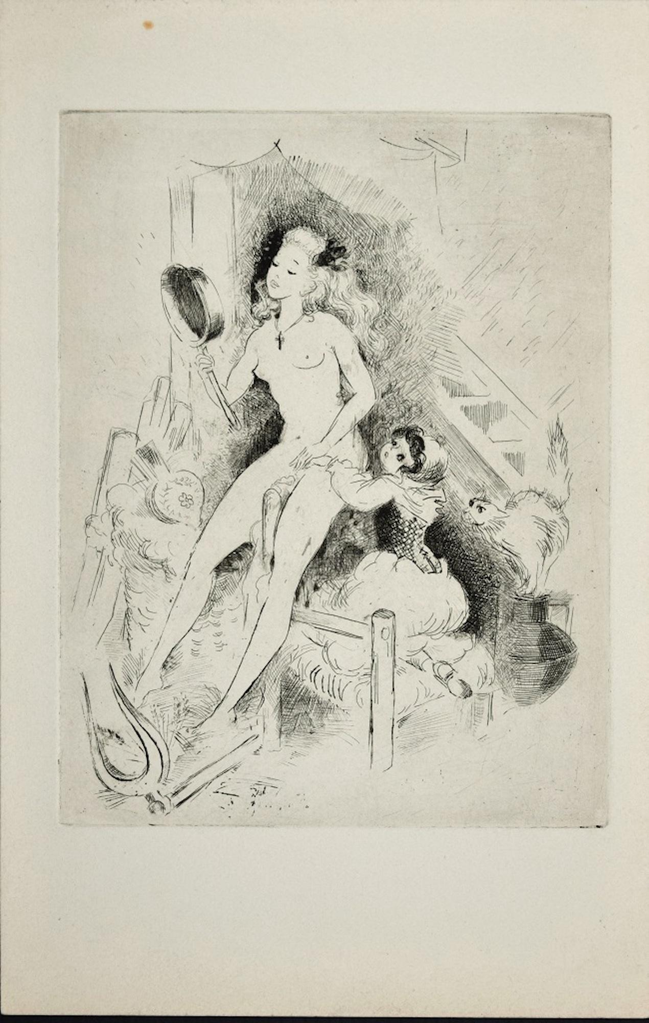 Erotic Scene - Original Etching ad Drypoint by A. Doré -1950s