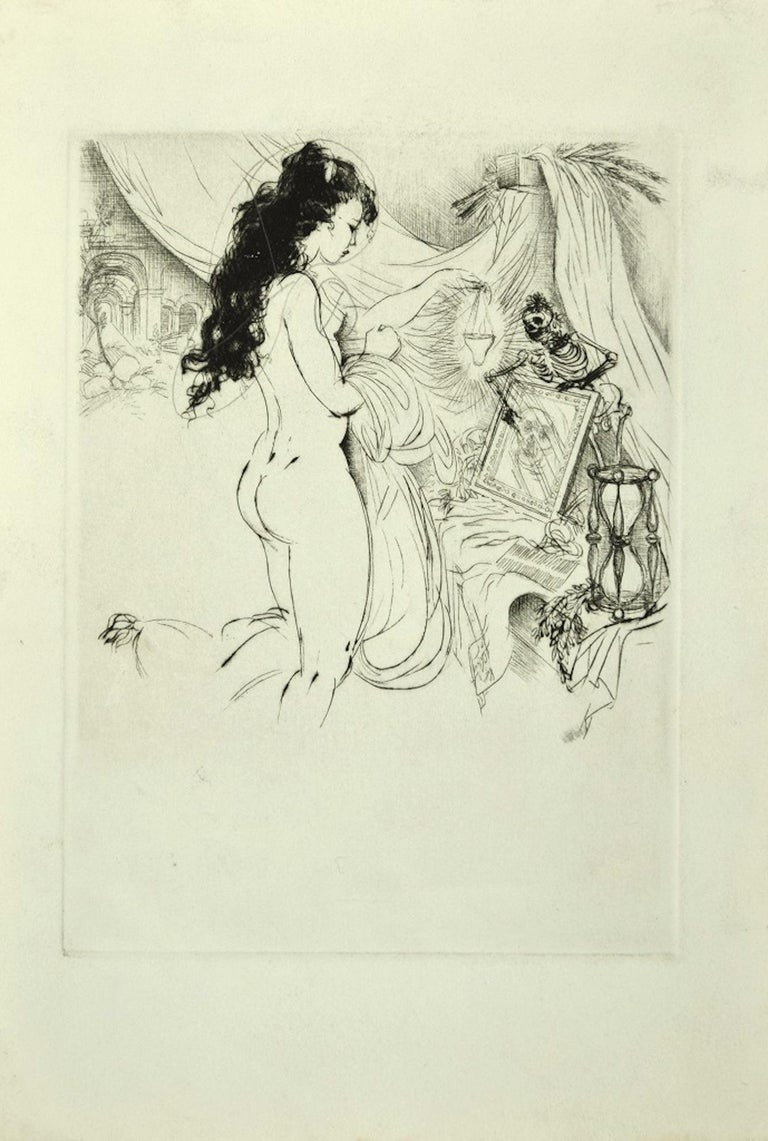 Amandine Doré Figurative Print - Vanitas - Original Etching ad Drypoint by A. Doré - 1950s