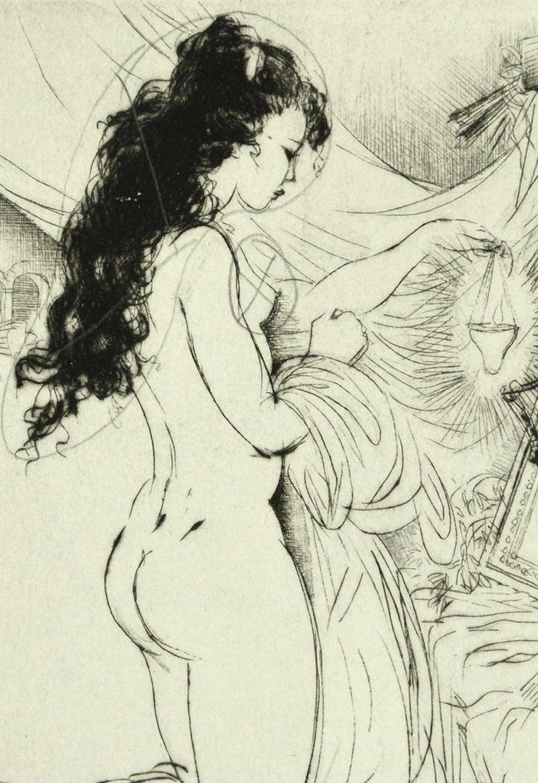 Vanitas - Original Etching ad Drypoint by A. Doré - 1950s - Print by Amandine Doré