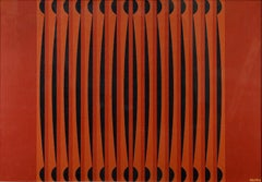 Red Geometric Composition - Original Oil on Canvas by Dordevic Miodrag