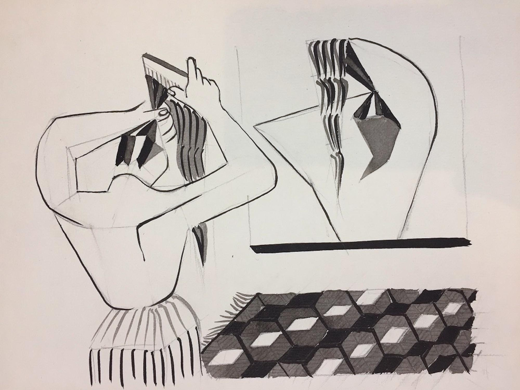 The Hairstyle - Original China Ink on Paper by Henry Wormser - 1950s