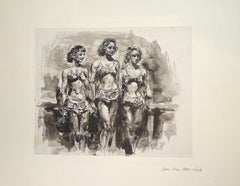 Women - Original China Ink and Watercolor by J.L. Rey Vila - 1950s