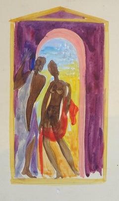 Female Figures - Original Watercolor on Paper by Emile Deschler - 1940s