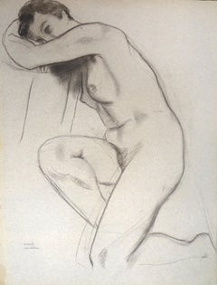Nude - Original Charcoal on Paper by Emile Deschler - Late 20th Century