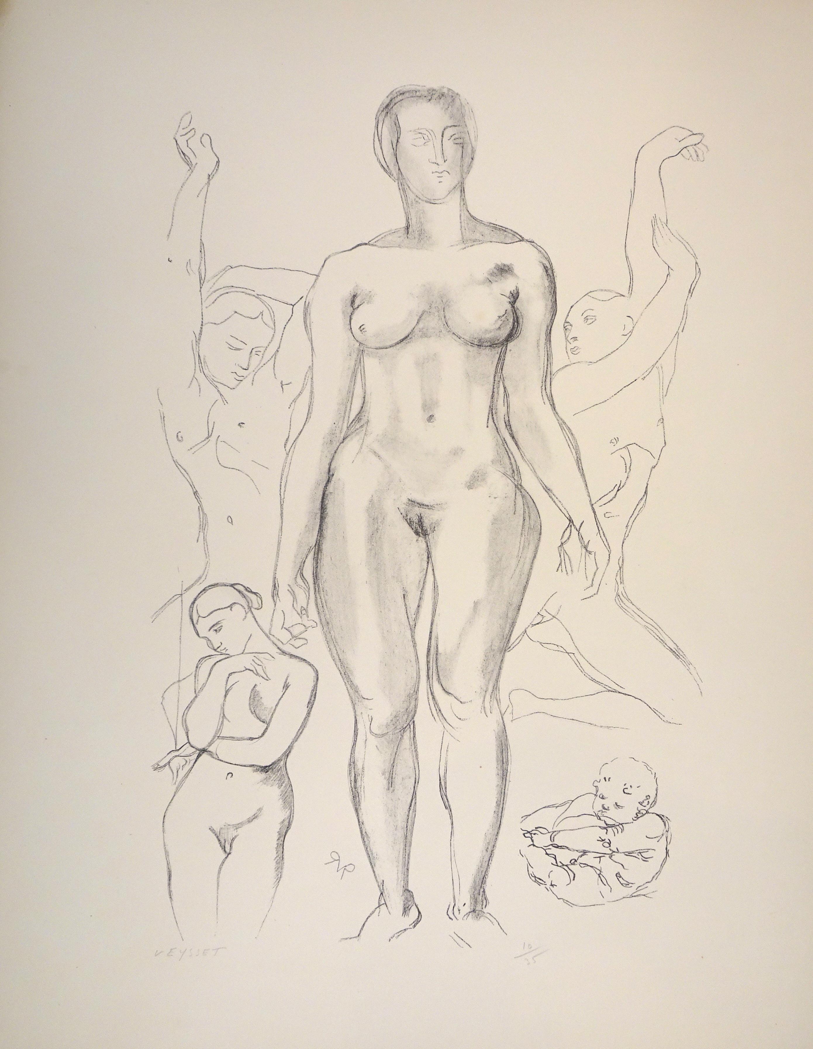 Standing Female Nude - Original Lithograph by Raymond Veysset