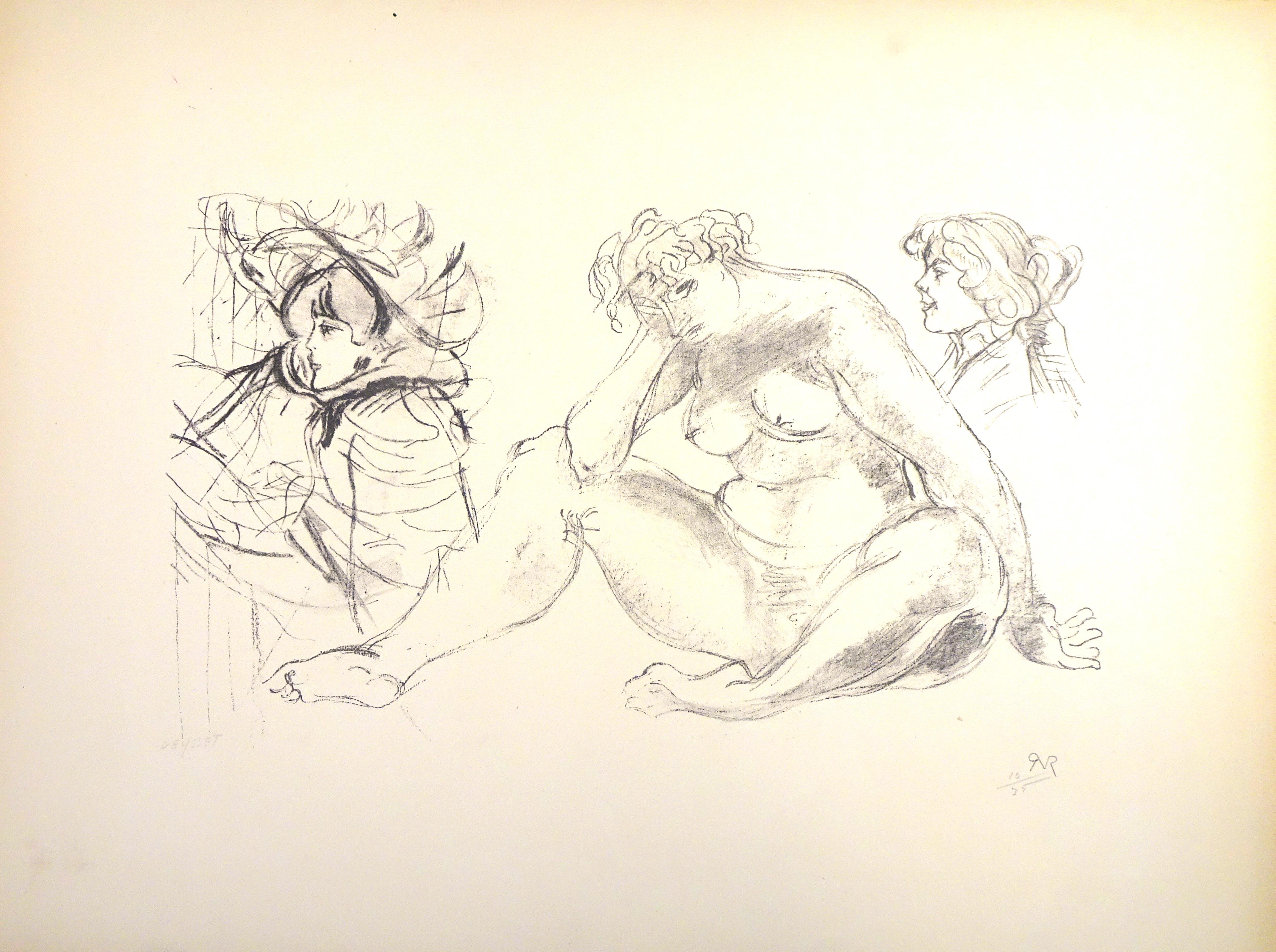 Female Nude with Portraits  - Original Lithograph by Raymond Veysset